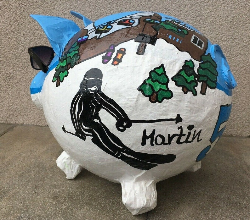 piggy bank xxl ski sow winter pig money gift 50th birthday