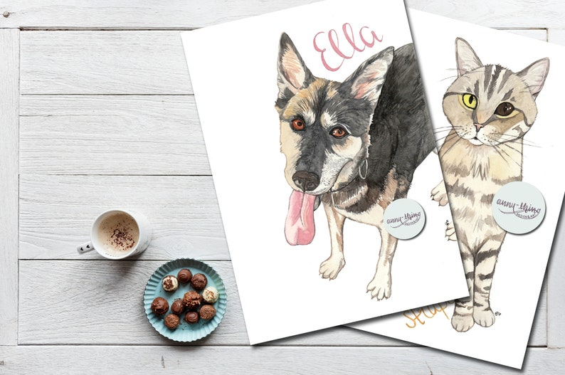 Pet portrait: PortraiTIER Watercolor handmade A4 1 animal image 0