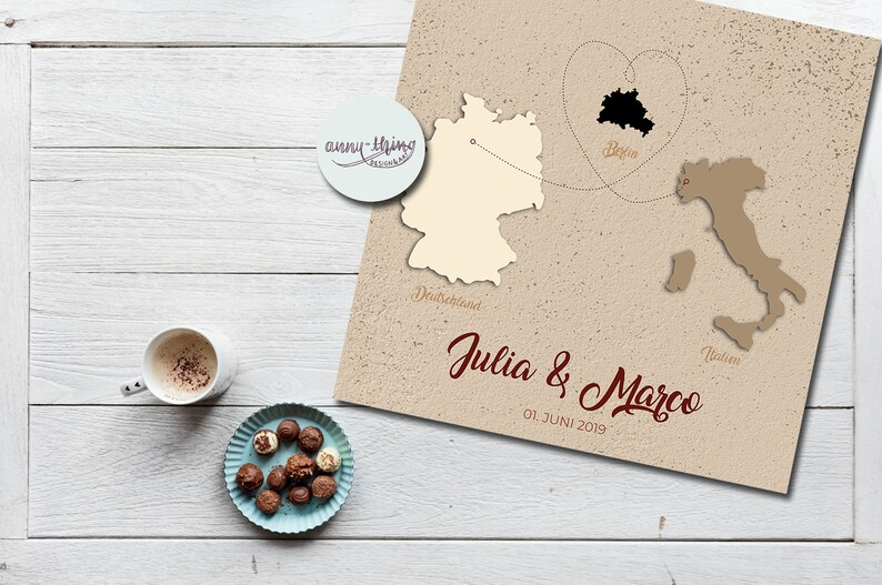Wedding guestbook cover sheet-places of origin newlyweds image 0