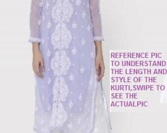 2f854b1528 VeroniQ Trends- Chikankari Straight Kurti With White Thread Work in  Georgette- Lucknowi,India,Formal