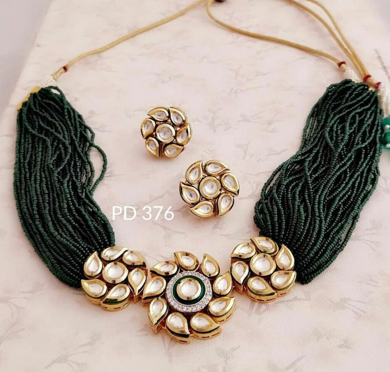 VeroniQ Trends Designer Choker Necklace in KundanPolki Necklace Set very High Quality Green Multistrand beadsD14-Bridal,Wedding,Party