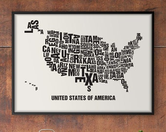 USA United States Letter Place Screen Print Poster Typography, Typo City Map, Letters Map, Neighborhoods Graphic, Cities Pictures, Poster