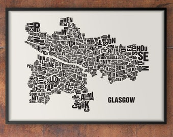 GLASGOW Scotland Letter Place Screen print Poster Typography, Typo City Map, Letters Map, Neighborhoods Graphic, Cities Pictures, Poster