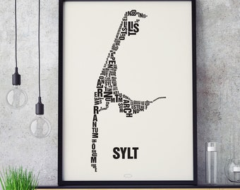 SYLT Letter Place Screenprint Poster Typography, Typo City Map, Letters Map, Neighborhoods Graphic, Cities Pictures, Poster