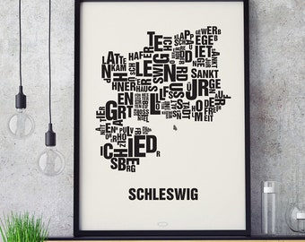 SCHLESWIG Letter Place Screen Print Poster Typography, Typo City Map, Letters Map, Neighborhoods Graphic, Cities Pictures, Poster