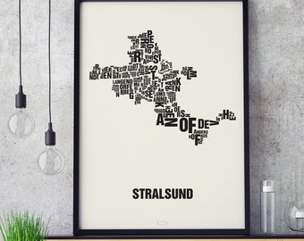STRALSUND Letter Place Screen print Poster Typography, Typo City Map, Letters Map, Neighborhoods Graphic, Cities Pictures, Poster