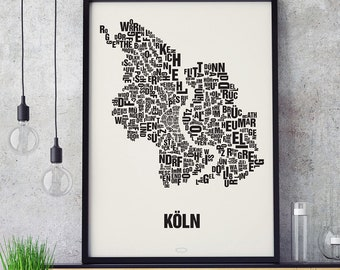 KÖLN Cologne Letter Place Screenprint Poster Typography, Typo City Map, Letters Map, Neighborhoods Graphic, Cities Pictures, Poster