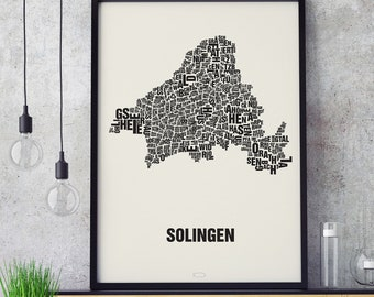 SOLINGEN Letter Place Screenprint Poster Typography, Typo City Map, Letters Map, Neighborhoods Graphic, Cities Pictures, Poster