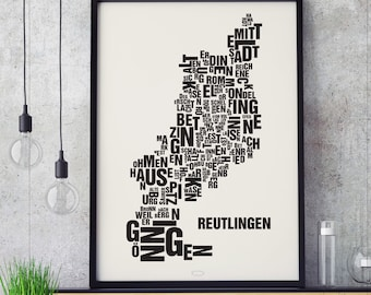 REUTLINGEN Letter Place Screen print Poster Typography, Typo City Map, Letters Map, Neighborhoods Graphic, Cities Pictures, Poster