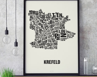 KREFELD Letter Place Screen print Poster Typography, Typo City Map, Letters Map, Neighborhoods Graphic, Cities Pictures, Poster