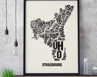 STRASBOURG STRASBOURG Letter Place Screenprint Poster Typography, Typo City Map, Letters Map, Neighborhoods Graphic, Cities Pictures, Poster