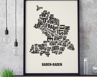 BADEN-BADEN Letter Place Screen Print Poster Typography, Typo City Map, Letters Map, Neighborhoods Graphic, Cities Pictures, Poster