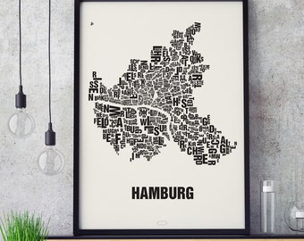 HAMBURG Letter Place Screen print Poster Typography, Typo City Map, Letters Map, Neighborhoods Graphic, Cities Pictures, Poster