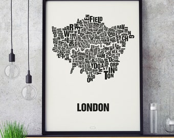 LONDON UK Letter Place Screen Print Poster Typography, Typo City Map, Letters Map, Neighborhoods Graphic, Cities Pictures, Poster