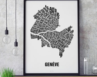 GENEVE Geneva Switzerland Letter Place Screen Print Poster Typography, Typo City Map, Letters Map, Neighborhoods Graphic, Cities Pictures, Poster