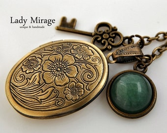 BESTSELLER Vintage Necklace with Locket for Photos with Jade and Key Bronze