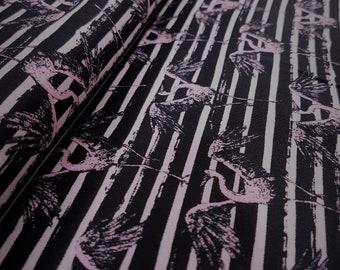 Baumwollstoff Flamingo Streifen leicht elastisch