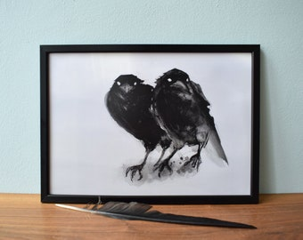 Crows Illustration Ink Digital Print A4 - Crow, Animal, Bird Drawing, Ink Drawing, Grey Black, Picture, Wall Decor, Decoration, Print