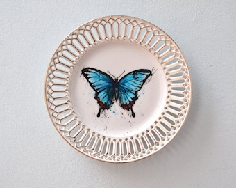 Wall plate breakthrough plate deco plate blue butterfly hand painted porcelain plate - wall decoration decoration insect vintage gold rim