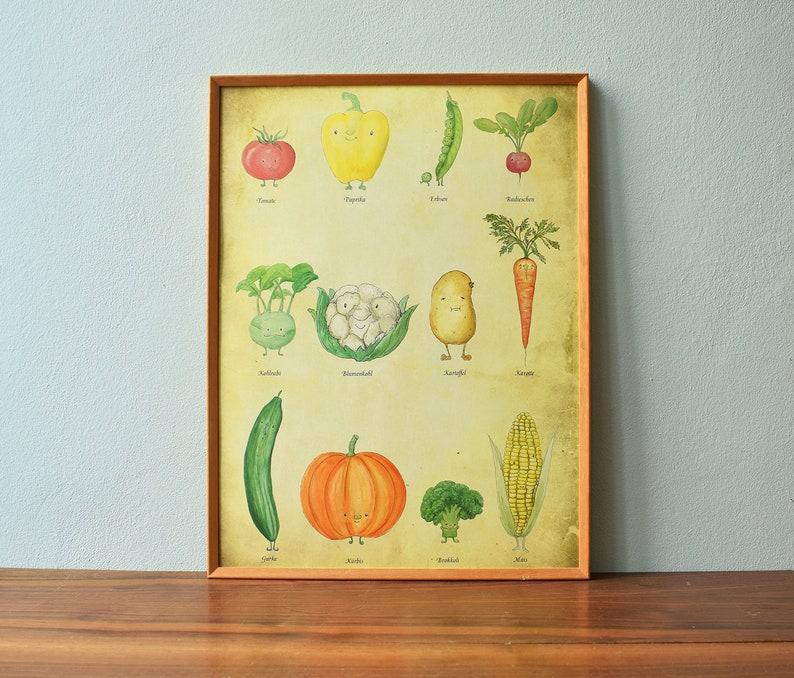Poster vegetable poster  kitchen poster DIN A3  vintage image 0