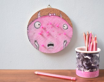 Pimple board pinboard cork round monster pink with pins - cork board painted monster cork nursery office notes note wall on wood
