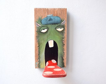 Small old driftwood as a wall shelf with a sick monster, unique wall decoration, upcycling