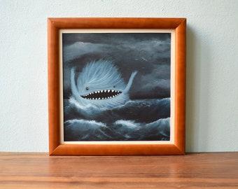 Monster Sea Illustration Digital Print, , North Sea, Ocean, Wave, Surfer, Surf, Swimming, Vacation, Vacation, Wan Decoration, Beach