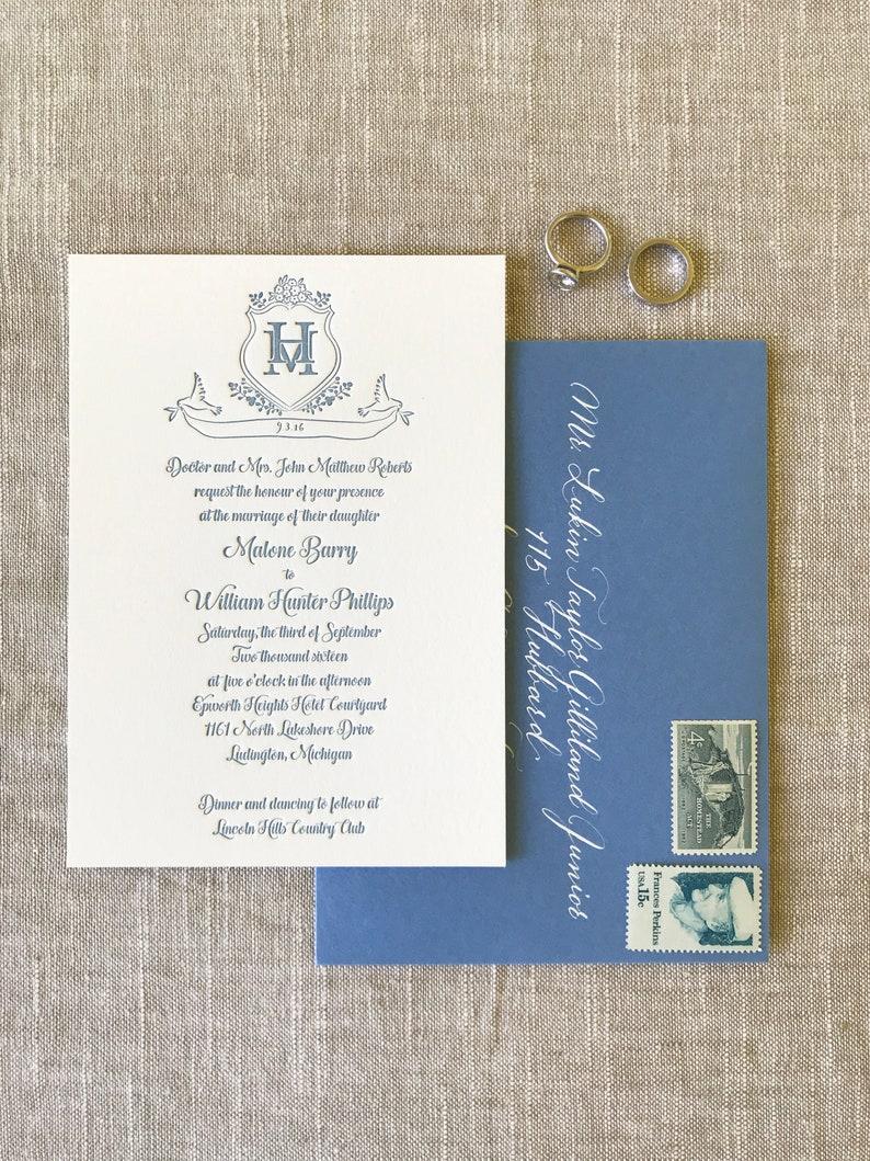 Custom Letterpress Wedding Invitation Invitations Save The Date Card Suite Unique