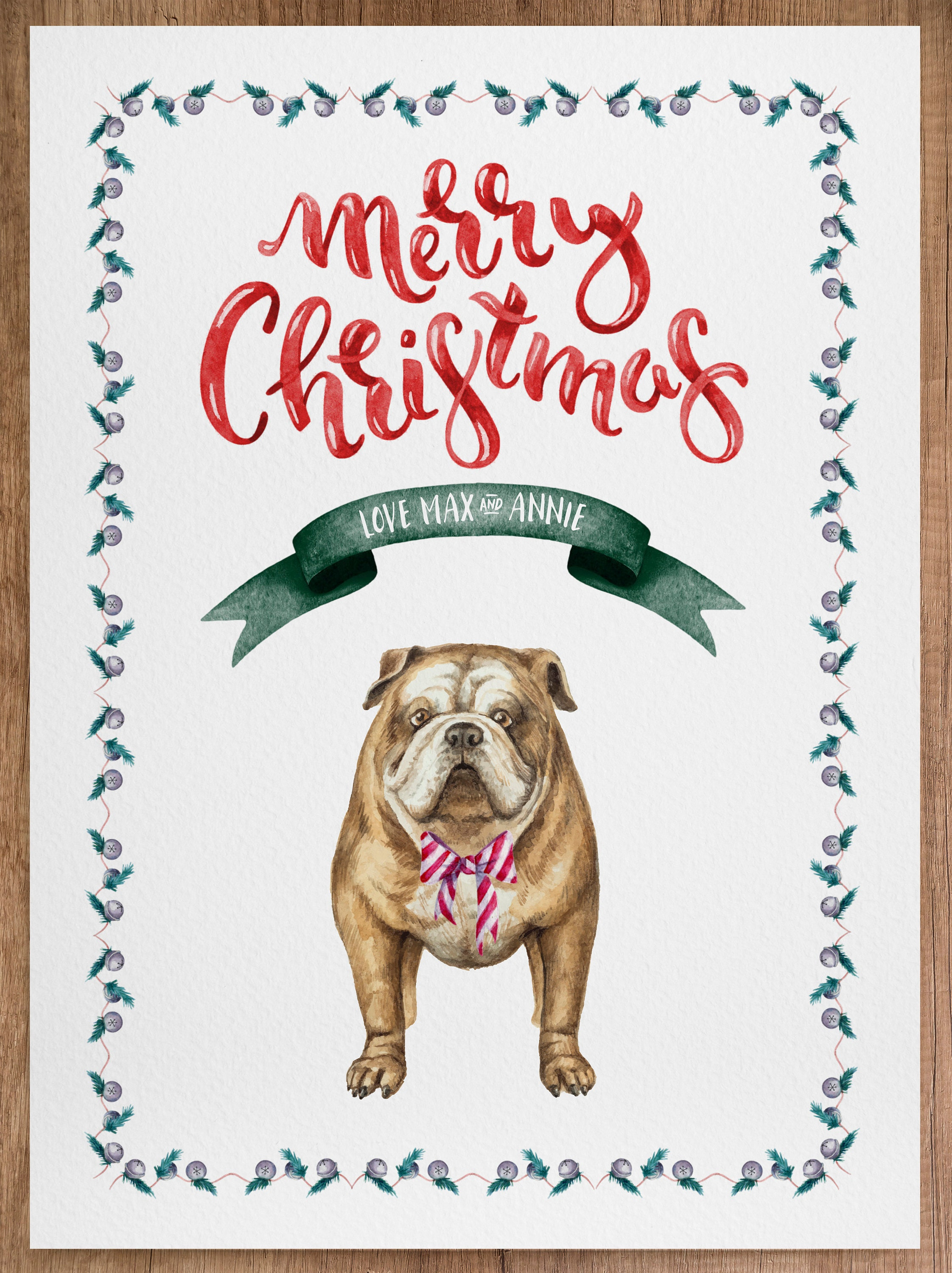Custom Watercolor Portrait of Animal Christmas Card