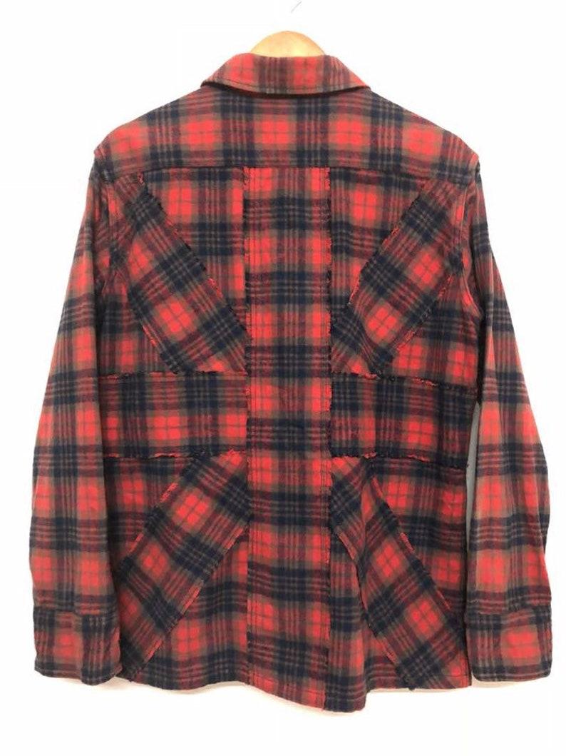 Longsleeve Plaid Check Tartan Flannel Shirt  Union Jack Pattern At The Back Size M Paul Smith