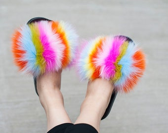 e2792413a9e Colorful Fox Fur Slides -Rainbow