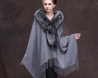 Grey Wool Cape With Silver Fox Fur Collar