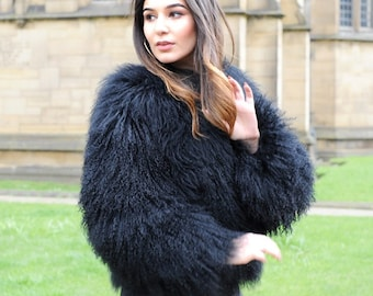 b314dc62ac922 Black Mongolian Lamb Fur Jacket