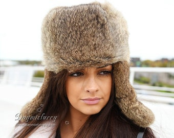 Brown Rabbit Fur Russian Ushanka Hat 7c0454162d5