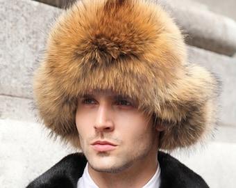 930f7eefca18ed Finn Raccoon Fur and Waterproof Fabric Russian Fur Hat