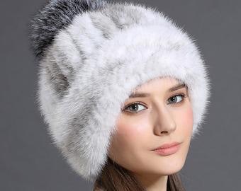 0b4e9406442d21 Knit Cross Mink Fur Hat With Silver Fox Fur Pom