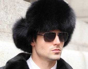 Black Fox Fur and Waterproof Fabric Russian Fur Hat e2279aea75c