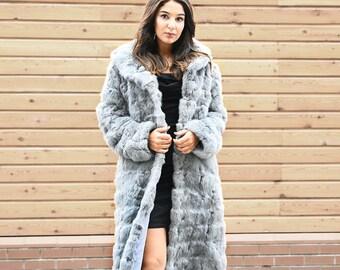 e1b59227811 NEW Patched Rabbit Fur Long Coat - Grey