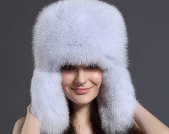 2dcf38e9bd5 Blue Fox Fur Trapper Hat
