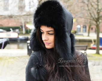 6e02f5b3e Black Fox Fur and Waterproof Fabric Russian Fur Hat