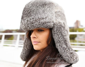 6553af6a4fe20 Grey Rabbit Fur Russian Ushanka Hat