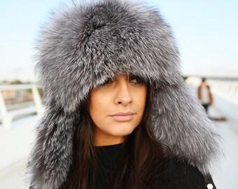 cd8600d2890 Silver Fox Fur Trapper Hat