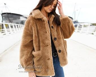 c51622f5854c6 Camel Sheep Wool Teddy Bear Coat