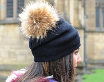 cb184c4b Wool Beanie Hat With Raccoon Pom Pom