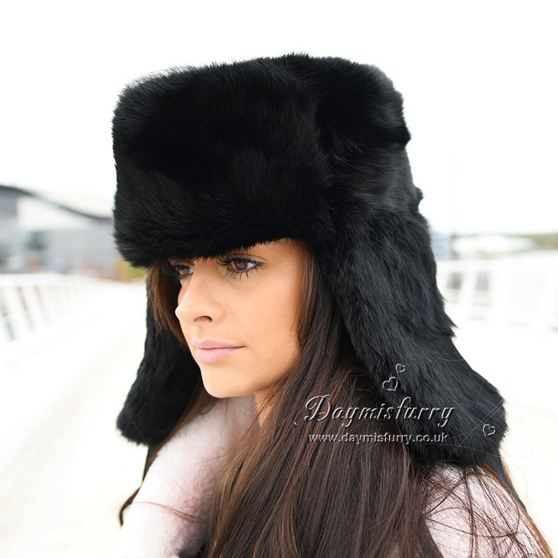 c9265a23f51 Black Rabbit Fur Russian Ushanka Hat
