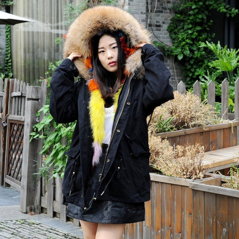 6aebd58d7 Dyed Colorful Fox Fur Lined Parka with Raccoon Fur Hood