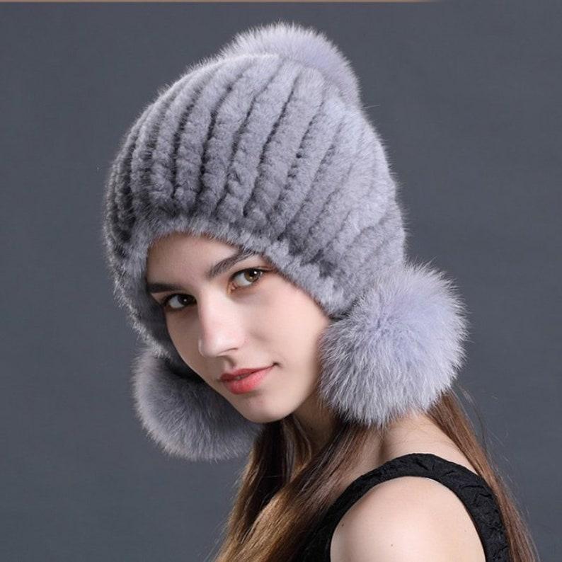 969b967a70a22 Knit Mink Fur Beanie Hat With Fox Fur Pom