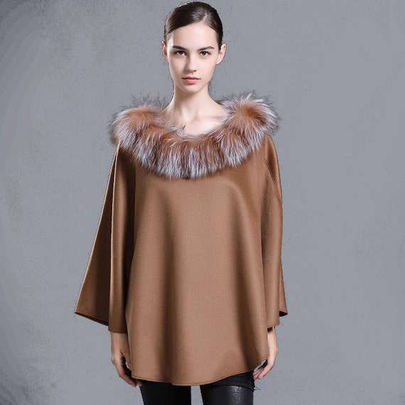 1ce0f2963 Wool Poncho Shawl with Fox Fur Trim   Etsy