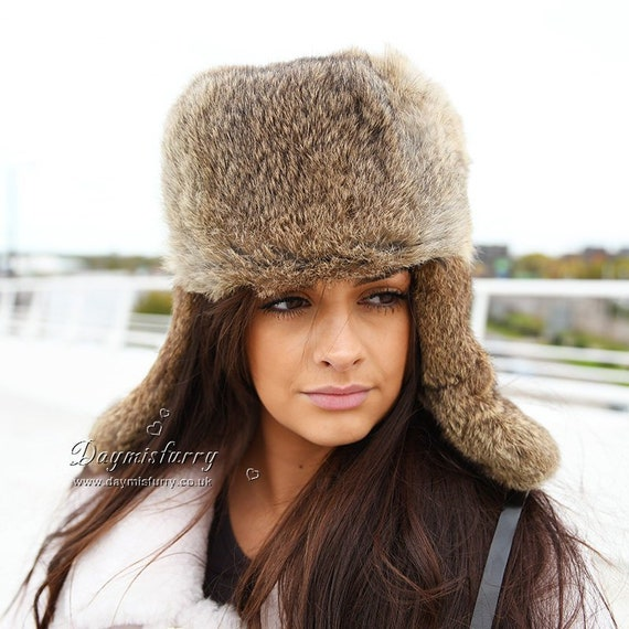 854a4f6e1b1 Brown Rabbit Fur Russian Ushanka Hat