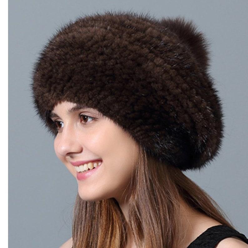 b16d693ae370a Knit Mink Fur Beanie Hat